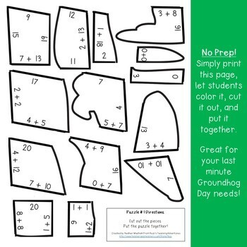 ADDITION Groundhog Day Math Activities, Puzzles, Games, Centers, or Review