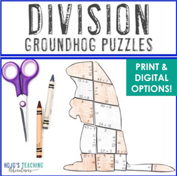Groundhog Day Activities | Groundhog Day MATH Activities | Division Puzzles
