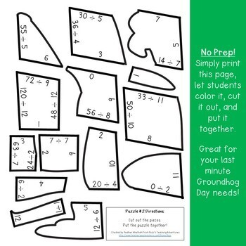 DIVISION Groundhog Day Craft, Activities, Math Centers, Games, or Review