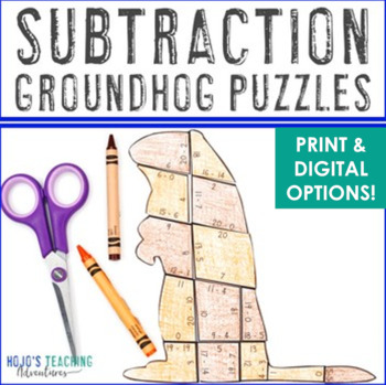 SUBTRACTION Groundhog Day Activities, Craft, Puzzles, or Math Centers