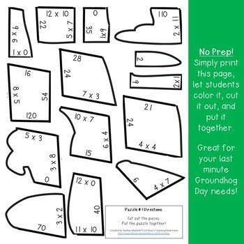 Groundhog Day Activities | Groundhog Day MATH Centers | Multiplication Puzzles