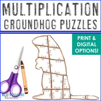 MULTIPLICATION Groundhog Day Activities, Math Centers, Games, or Puzzles