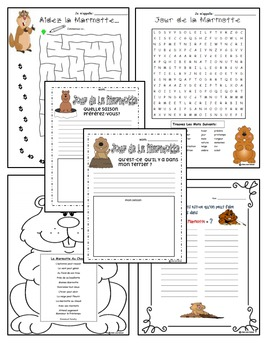 "Groundhog Day Activities-In French! --""Jour de la Marmotte"""