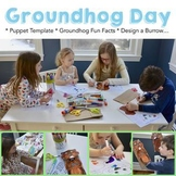 Groundhog Day Activities - Puppet Template & 18 Fun Facts, Design a Burrow...