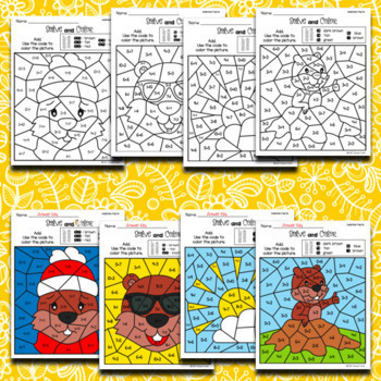Groundhog Day Activities - Solve and Color Worksheets