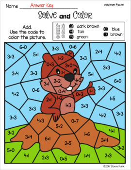 Groundhog Day Activities - Addition Solve and Color Worksheets