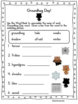Groundhog Day Activities first, second, third grade