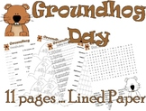 Groundhog Day Activity Fun Pack : Math Spelling Vocabulary + 11pg : LINED PAPER