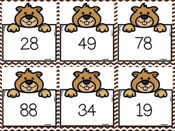 Groundhog Day Adding with Tens and Ones Matching Game