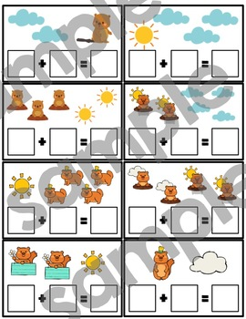 Groundhog Day Addition & Subtraction Card Bundle