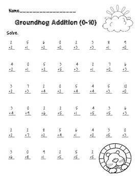 Groundhog Day Addition/Subtraction Color by Number Packet