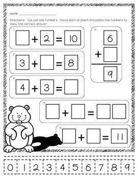Groundhog Day Addition and Subtraction Cut and Paste FREEBIE