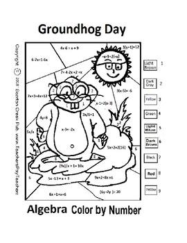 Groundhog Day Algebra Color by Number