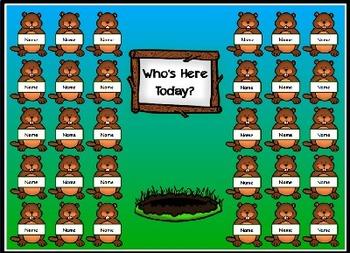 Groundhog Day Attendance Taker Promethean ActivInspire Flipchart