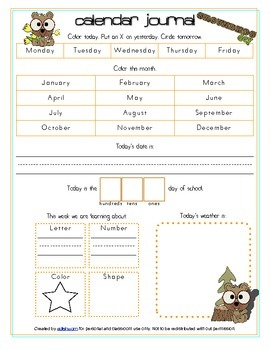 Groundhog Day Calendar/Circle Time Journal Sheet