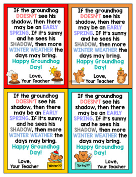 Groundhog Day Cards for Students - Editable in color & black and white!
