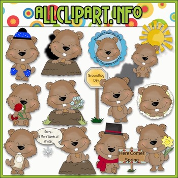 Groundhog Day Celebration Clip Art - Cheryl Seslar Clip Art