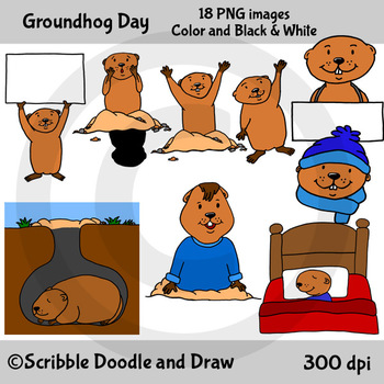 Groundhog Day Clip Art by Scribble Doodle and Draw   TpT