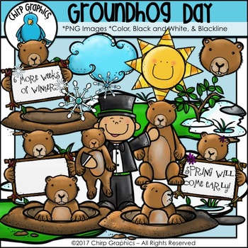 Groundhog Day Clip Art Set - Chirp Graphics