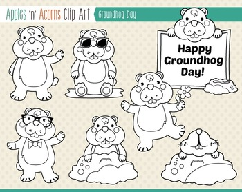 Groundhog Day Clip Art - color and outlines