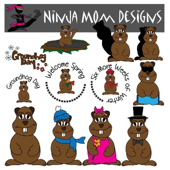 Groundhog Day Clip Art in Color and Black Line