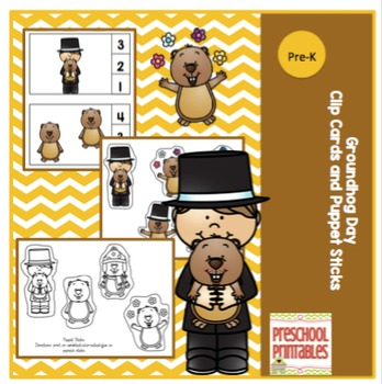 Groundhog Day Clip Cards and Puppet Sticks