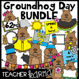 (50% off today) Groundhog Day Clipart BUNDLE &  Seller's Kit