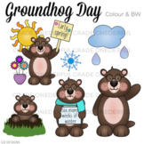 Groundhog Day Clipart: Color and Black and White Images