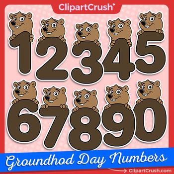 Groundhog Day Clipart Numbers / Cute Cartoon Groundhog Number Set!