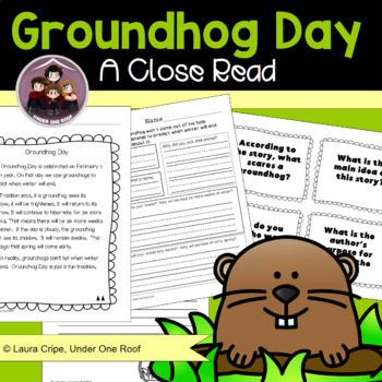 Groundhog Day Close Reading and Creative Writing Primary Grades
