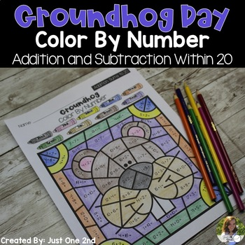 Groundhog Day Color By Number: Addition & Subtraction Within 20