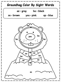 Groundhog Day Color By Sight Words