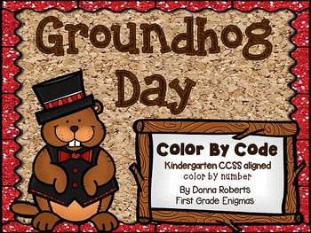Groundhog Day Color by Code Kindergarten CCSS aligned