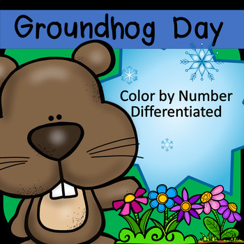 Groundhog Day Color by Number Differentiated (add subtract
