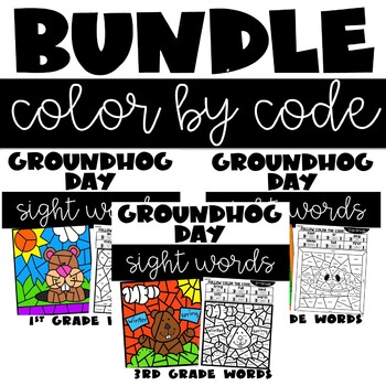 Groundhog Day Color by Sight Words with 1st, 2nd, 3rd Grade Words