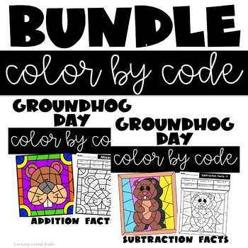 Groundhog Day Coloring Pages with addition and subtraction facts