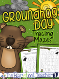 Groundhog Day Letter (Upper & Lower Case) & Number Tracing Mazes