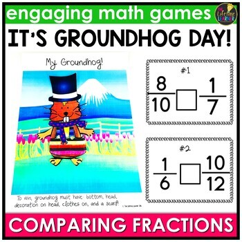 Groundhog Day Comparing Fractions (Numbers Version) Game