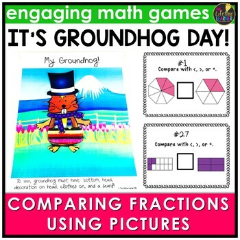 Groundhog Day Comparing Fractions (Pictures Version) Game
