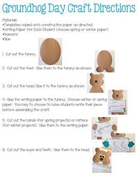 Groundhog Day Craft and Opinion Writing Activity