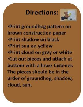 Groundhog Day Craft and Supplemental Worksheets Set