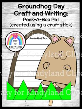 Groundhog Day Craft and Writing for Kindergarten: Craft Stick Peek-A-Boo