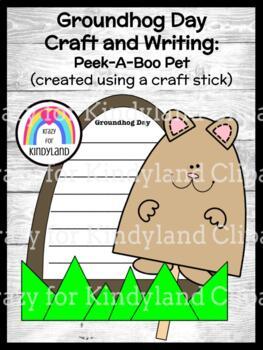 Groundhog Day Craft and Writing: Craft Stick Peek-A-Boo