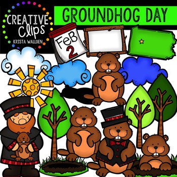 Groundhog Day Clipart {Creative Clips Digital Clipart}