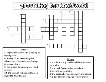 Groundhog Day Crossword Puzzle