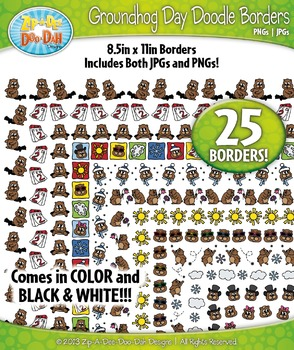 Groundhog Day Doodle Frame Borders Set  — Includes 25 Graphics!