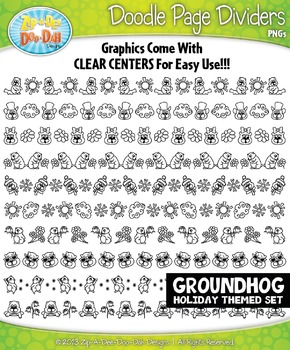 Groundhog Day Doodle Page Divider Clipart {Zip-A-Dee-Doo-Dah Designs}