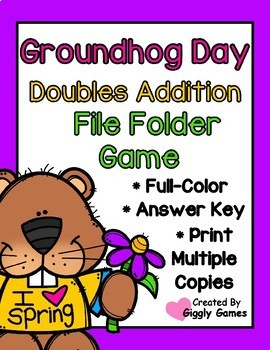Groundhog Day Doubles Addition File Folder Game