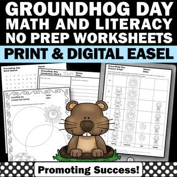 Groundhog Day Activities, No Prep Language Arts Worksheets, Word Work Centers