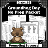 Groundhog Day Activities, No Prep Math and Literacy Packet